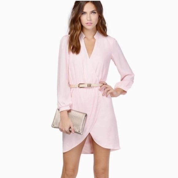 Tobi Dresses & Skirts - TOBI Light Pink Long-Sleeved Wrap Dress